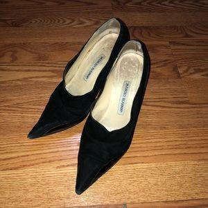 Black Pointed Manolo Blahnik Heels Size 38.5